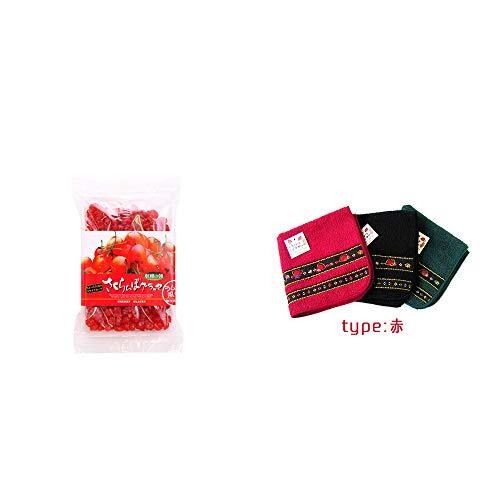 [2点セット] 収穫の朝 さくらんぼグラッセ ラム酒風味(180g)・さるぼぼ 刺繍ミニタオル【赤】