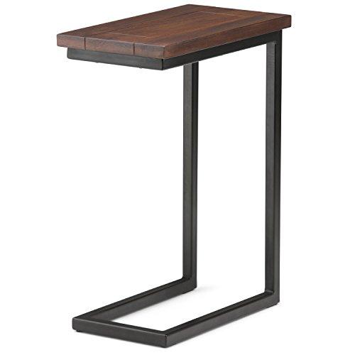 Simpli Home Solid Mango Wood & Metal C Side Table, Wood, Dark Cognac Brown