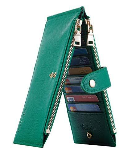 Travelambo Womens Walllet RFID Blocking Bifold Multi Card Case Wallet with Zipper Pocket Crosshatch (Green 7311)