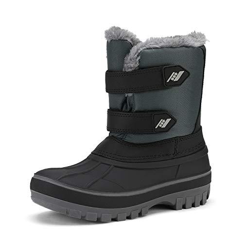 DREAM PAIRS Little Kid Ducko Black Grey Ankle Winter Snow Boots Size 2 M US Little Kid