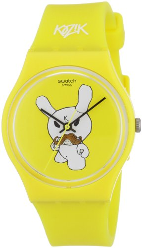 kidrobot for Swatch GJ130 - Reloj analógico unisex de cuarzo con correa de silicona multicolor
