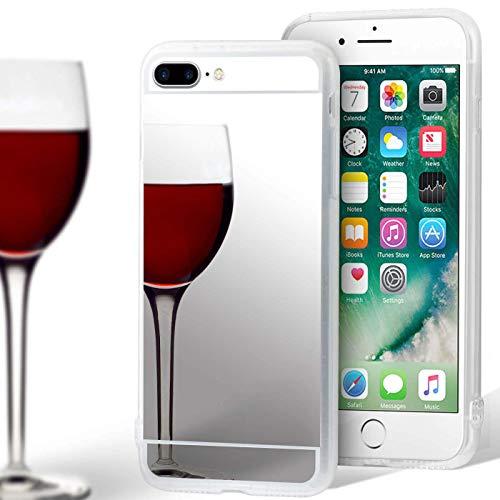 United Case TPU con Specchio per Apple iPhone 7 Plus / 8 Plus | Argento Bling Cover |