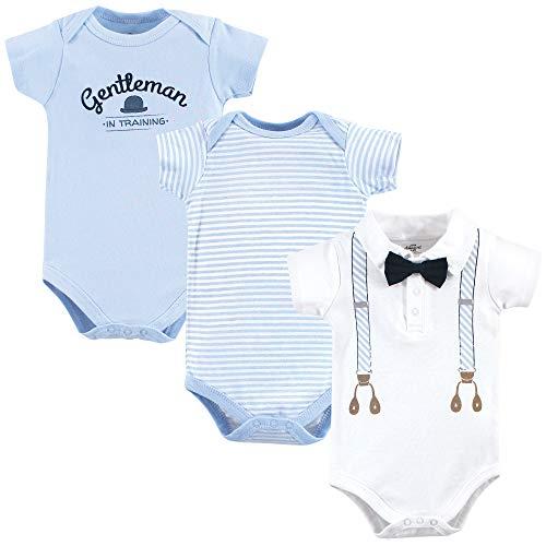 Little Treasure Unisex Cotton Bodysuits, Light Blue Suspenders, 6-9 Months