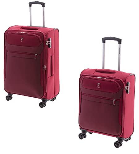 Top Trolley – Maleta – Set – 2 piezas – 68 cm + 55 cm – 4 ruedas – plegable (negro, azul o rojo) (azul), rojo (Rojo) - GLA-2012-M-S