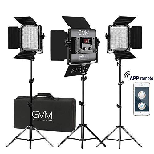 GVM 3 Pack LED Videoleuchten mit Ständer Kit,APP-Steuerung 480 LED Fotografie Beleuchtung Videolicht mit Barndoor für YouTube Studio Videoleuchte,CRI97 Zweifarbig 2300K-6800K Video Lights