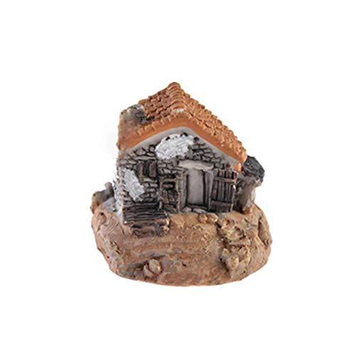 Miniatuurfiguren – Mini Small House Cottages DIY Craft Micro Landscape Decoration Figure Moss Terrarium Fairy Garden – Gnome Cork Garden & Solar Resin figuur tuin hars Terras 7