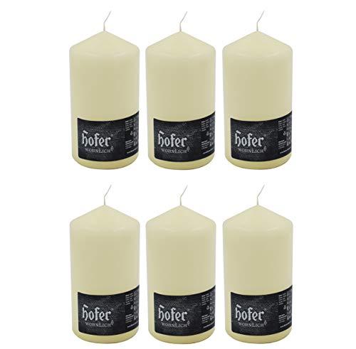 Hofer Velas Pilar - Paquete de 6 piezas - 60 horas de tiempo de combustión - Marfil - 8 cm x 15 cm - Cera sin perfume, sin goteo, larga duración, calidad de la UE