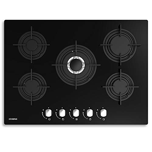 COOKPAD 70cm Gas Hob 5 Burners, Built-in Gas Stove Fuel Cooktop Equipped...