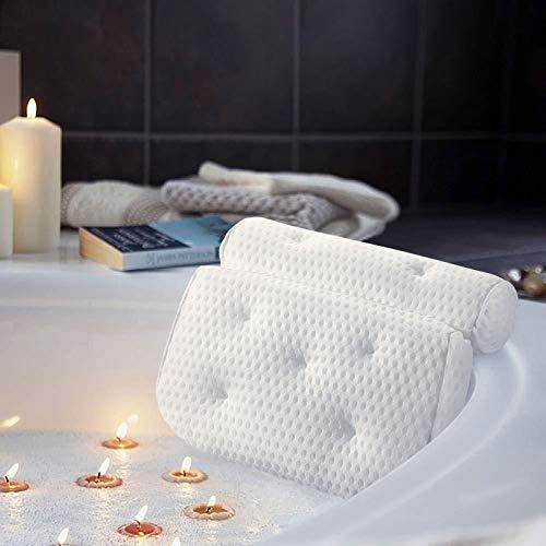 KINLO 4D Badewannenkissen Schimmelbeweis Waschbares Kissen für Badewannen mit 7 Saugnäpfen + 1Haken Badekissen Weiß Kissen Schützen Sie die Halswirbelsäule SPA (Dicke ca. 8cm)