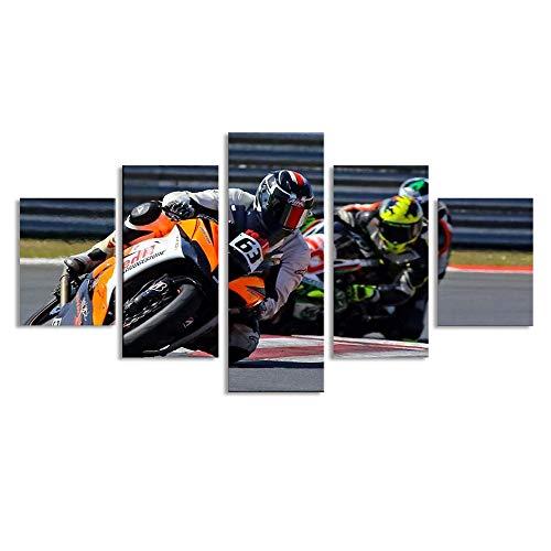 MotoGP Canvas Schilderijen Muur Kunst SIC Racing Team Rider 63 Zulfahmi Khairuddin Poster voor Home Decoratie 5 Panel met Frame Klaar om op te hangen