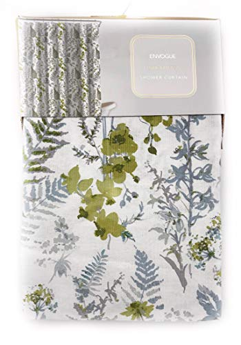 ENVOGUE French Country Provincial Wildflower Print Cotton Shower Curtain Modern Rustic Soft Vintage Floral Bird Butterly Botanical Nature Muted Color (Botanical Greens)
