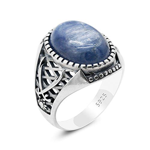 Natural Blue Kyanite Men'S Ring 925 Sterling Silver Muslim Male Rings With Two Swords Symbol Islamic Religious Belief Jewelry 9 Blue