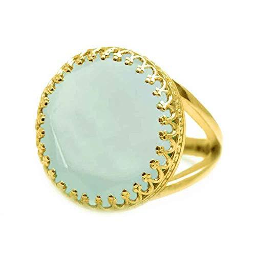 JewelryGift Anillos de piedra preciosa chapada en oro de 18 quilates con calcedonia natural, color aguamarina