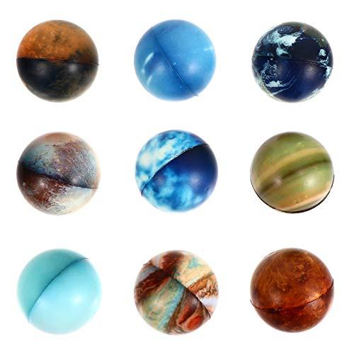STOBOK Juguete de Bola de Descompresión 9 Piezas de Juguete de Bola de Resorte Lento de Forma de Planeta Juguete de Descompresión Pelota de Terapia de Mano Bolas Antiestrés Juguete de