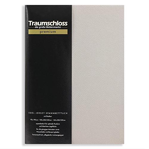 Traumschloss Edel-Jersey Spannbetttuch Premium | Stein | Mako Baumwolle mit Elasthan | Hautsympathisch, samtweich & angenehm zur Haut | 180-200 cm x 200-220 cm