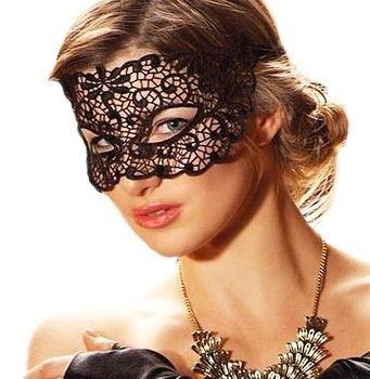En dentelle noire sexy voilette/masque