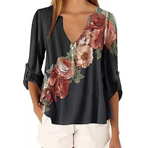 N\P Blusa de mujer blusa media manga playa camisa oficina trabajo camisas top
