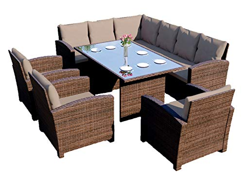 Abreo Rattan Corner Garden Sofa Arm Chair Dining Table Set Furniture Black Brown Grey (Brown with Dark Cushions)