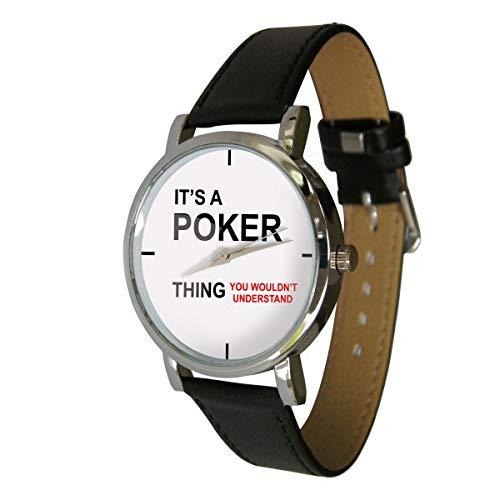 Your Watch Design Unisex Uhr. Erwachsenengröße. Analog Quarz mit Leder Armband, Poker Thing