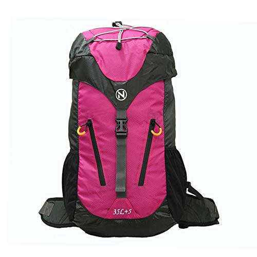 NULF 35L+5L Hiking Backpack Lightweight Travel Backpack Daypack Camping/Traveling for Men Women with Waterproof Rain Cover Diamond Pattern Real Nylon