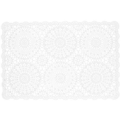 KERSTEN Häkel-Platzset Platzdeckchen abwischbar wetterfest \'Crochet\' 4er-Set, 30 x 45cm, Weiß