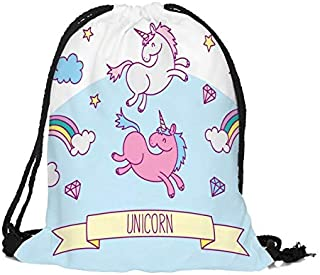 Unicorn Drawstring Backpack Shoulder Bags Shopping Draw rope Bag For Student Camping Travel