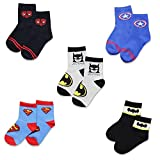 5 pairs Boys Socks Kids Superhero Adventures Spiderman Captain America Superman Batman Athletic Crew Socks (5 Pairs Adventures, 1-3 Years)