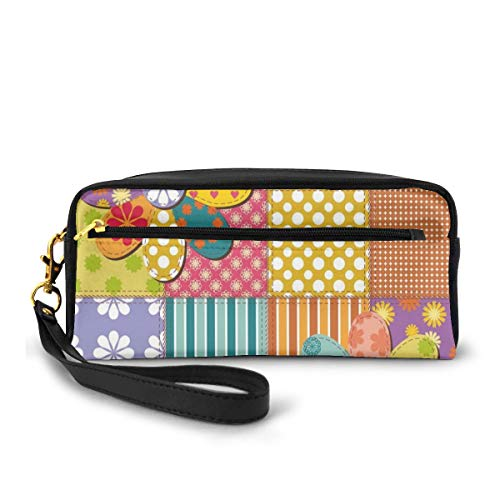Pencil Case Pen Bag Pouch Stationary,Various Type of Floral and Geometric Forms Mixed Polka Dots Tartan Stripes Design,Small Makeup Bag Coin Purse