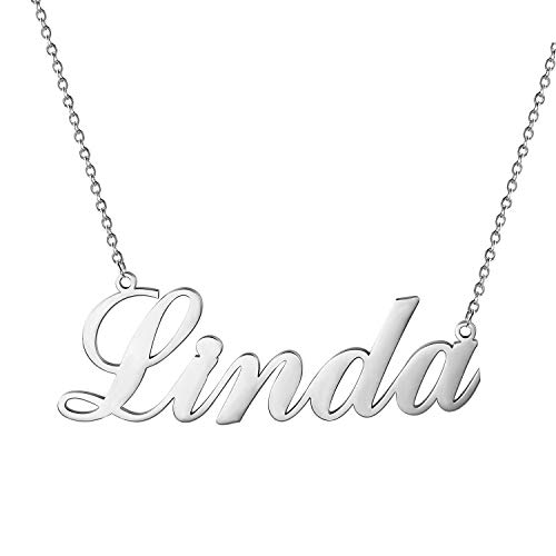 Cupimatch Custom Name Necklace Personalized, Stainless Steel Customized Charm Necklace Jewelry Gift for Women Silver Rose Gold