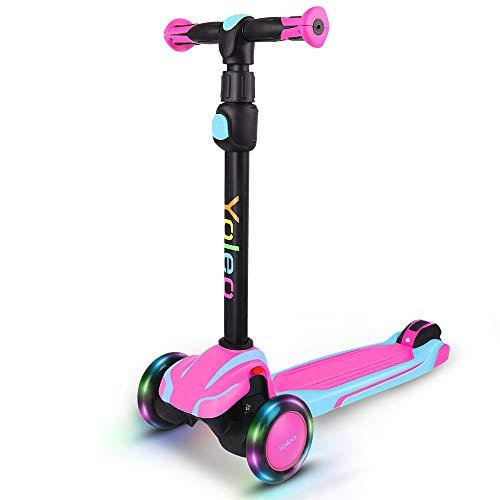 Yoleo Kinder Roller ab 3 Jahre, Kinderscooter mit LED Leuchtenden Räder, Dreiradscooter 4 Höhenverstellbare für Jungen & Mädchen im Alter von 3-12 Jahren, Rosa