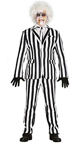 FIESTAS GUIRCA Vestido Hombre Completo en Rayas Blanco y Negro espíritu Talla l