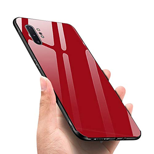 Luhuanx Samsung Galaxy Note 10 Plus Case,Note 10+ Plus Case,Tempered Glass Pattern Back+TPU Frame Hybrid Shell Slim Case Galaxy Note10 Plus Case(2019) Anti-Drop (Red)