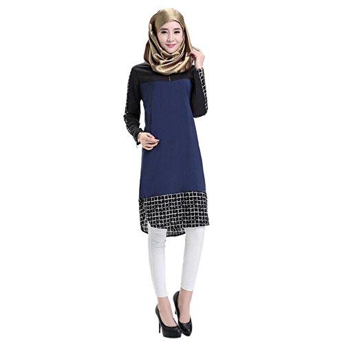 Meijunter Muslim Plaid Stitching Lange Ärmel Turkish Robes Bekleidung islamisch Arab Frauen Ethnische Kleidung Middle East Kaftan Maxi Kleid Abendkleid