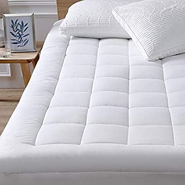 "Oaskys Mattress Pad Cover Cotton Top with Stretches to 18"" Deep Pocket Fits Up to 8""-21"" Cooling White Bed Topper (Down Alternative, Queen)"