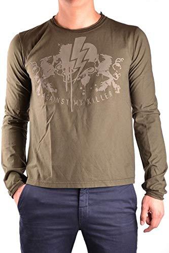 Luxury Fashion   Against My Killer Heren MCBI10147 Groen Katoen T-shirts   Seizoen Outlet