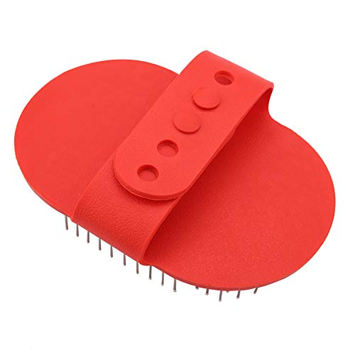 Oumefar Cepillo Redondo de Silicona para baño para Mascotas Peine de Goma para Masaje y Aseo de Mascotas con Mango Ajustable Suministros para Perros y Gatos(Rojo)