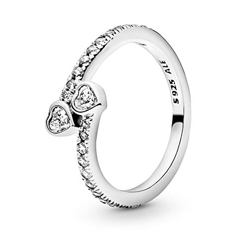 Pandora Jewelry Two Sparkling Hearts Cubic Zirconia Ring in Sterling Silver, Size 7.5