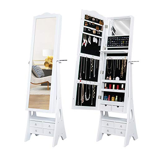 Floor Standing Jewelry Armoire,79 LED Lights Jewelry Storage Cabinets,6 Drawers Large Storage Organizer,1 Inside Makeup Mirror,3 Angle Adjustable (White)