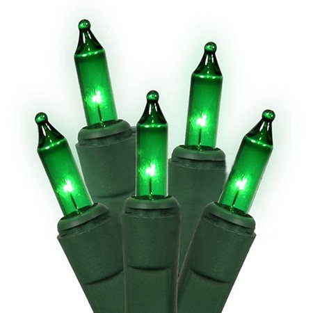 Holiday Essentials 100 Ultra-Brite Green Lights with Green Wire - Indoor/Outdoor Use - UL Listed