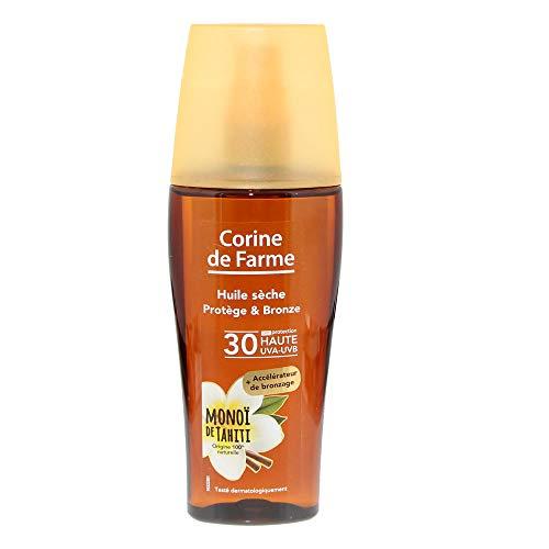 Corine de Farme   Huile Sèche SPF30 Protection Rayons UVA UVB   Accélérateur de bronzage Au Monoï   Clean Beauty Extraits Végétaux 100% naturels   150 ml