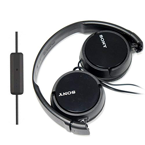 SONY Over Ear Best Stereo Extra Bass Portable Headphones Headset for Apple iPhone iPod/Samsung Galaxy / mp3 Player / 3.5mm Jack Plug Cell Phone with Mic (black)
