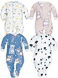 Sibinulo Nino Nina Pijama Bebé Pelele de Algodón Pack de 4 Lunas Osos de Peluche Azul Marino Globos Osos Rosados 74(6-9 Meses)