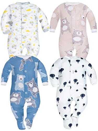 Sibinulo Nino Nina Pijama Bebé Pelele de Algodón Pack de 4 Lunas Osos de Peluche Azul Marino Globos Osos Rosados 62(0-3 Meses)