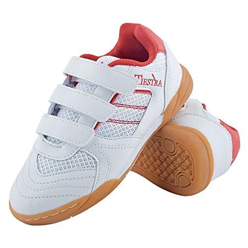 TIESTRA Zapatillas de Deporte Interior Unisex Niños, Zapatillas de Deporte Niños Ligeras Transpirable Zapatos de Correr Antideslizante Sneakers, Zapatillas de Fútbol Unisex Niños, Blanco EU28