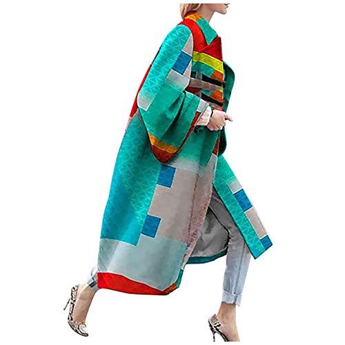 Janly Clearance Sale Abrigo para mujer, moda para mujer, chaqueta de bolsillo impresa, chaqueta de abrigo, abrigo largo, geometría impresa para Navidad (verde-XL)