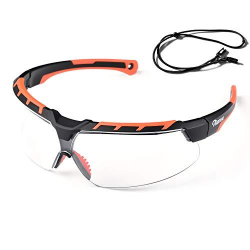 Safeyear Gafas protectoras antiarañazos SG016OR Protección UV Gafas de sol de seguridad tintadas para sitios para hombres y mujeres, Protección ocular Gafas de trabajo para laboratorio, Adultos DIY