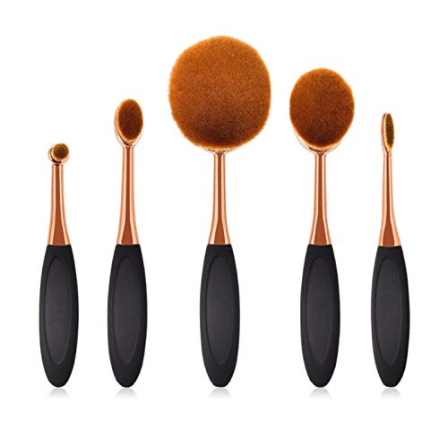 5-teiliges Make-up-Pinsel-Set, weich, oval, Kosmetik, Make-up, Zahnbürste, Rouge, Gesichtspuder, Foundation, Make-up-Werkzeug