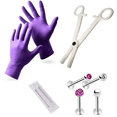 EG GIFTS Pro Lip Monroe Piercing Kit Including Gloves Needles Forceps Studs Included