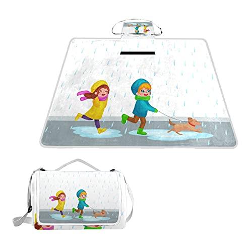 VAMIX Extra grote picknick deken, kinderen regenjassen rubberen laarzen spelen regen waterdichte opvouwbare outdoor dekens strand mat voor yoga picknick camping park familie, 57x59 inch
