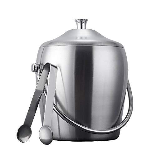 Ice Buckets Cubitera de Acero Inoxidable de Doble Capa con Tapas y Pinzas con Mango